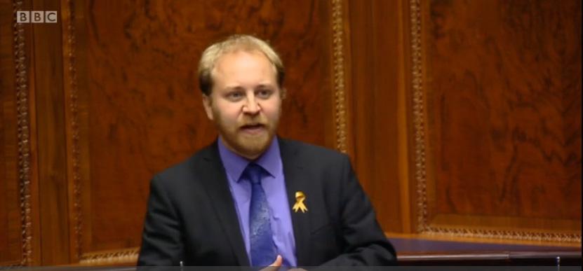 Steven Agnew speaking at Stormont